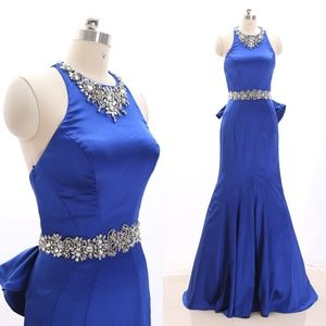 Dresses & Skirts - Halter Sheath Blue Pageant Prom Dress Formal Gown